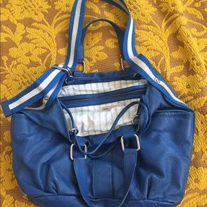 Auth Marc Jacobs Blue Leather Roomy Handbag Purse